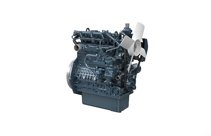 Bildunterschrift: Kubota's erster Dieselmotor unter 19 kW mit elektronischer Steuerung. Die Entwicklung von schwarzem Rauch wird durch ein neues Verbrennungssystem auf ein unsichtbares Niveau reduziert.